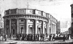 The Manchester cotton exchange trading hall in 1835, the commercial centre of Cottonopolis.