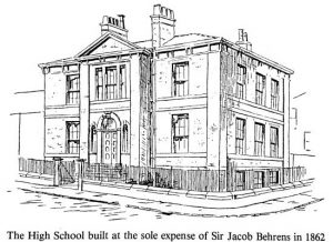 The Bradford High School built at the sole expense of Sir Jacob Behrens in 1862.
