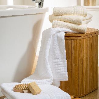 Sheared border towel lifestyle shot | Behrens Home Textiles, Bath Linen Supplier, Manchester, United Kingdom