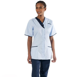 Asymmetric Healthcare Tunic, Sky Navy Trim | NHS Hospitals & Trusts, Behrens Healthcare, Supplier, Manchester, United Kingdom