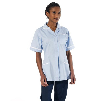 Ladies' Classic Tunics, Sky White Trim | NHS Hospitals & Trusts, Behrens Healthcare, Supplier, Manchester, United Kingdom